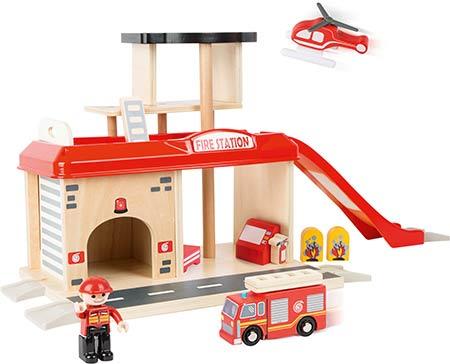 jouets bois pour enfant, caserne de pompier