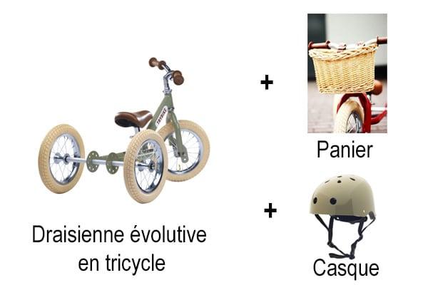 Draisienne évolutive en tricycle + panier osier + casque