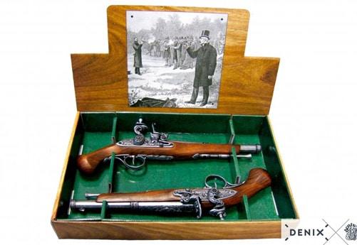 reproduction d'armes anciennes, 2 canons de duel du XVIII siècle