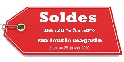 soldes dans notre magasin de -20 à -50% jusqu'au 20 janvier 2020