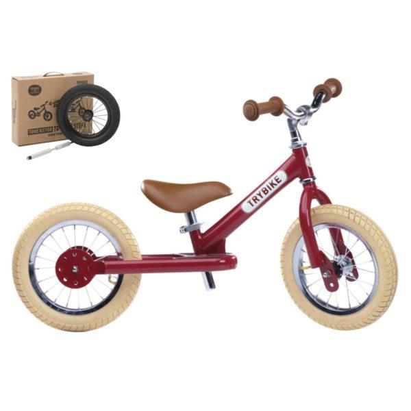 draisienne couleur rouge + kit tricycle, vélo pour les enfants à partir de 15 mois