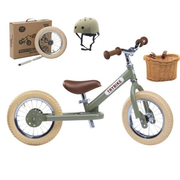Draisienne verte + kit tricycle + casque + panier, de marque Trybike