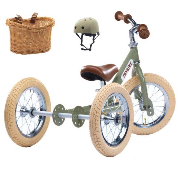 ENSEMBLE VERT : Draisienne + kit tricycle + Casque + Panier
