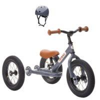 Tricycle gris anthracite avec casque pour enfants à partir de 15 mois