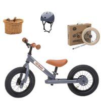 Vélo enfant gris anthracite : draisienne + kit tricycle + casque. Pour les enfants à partir de 15 mois
