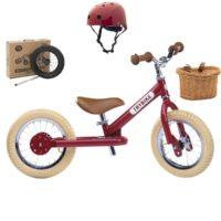 Vélo enfant : draisienne + kit tricycle + panier + casque. Poue les enfants à partir de 15 mois