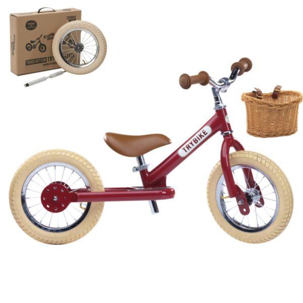 Vélo enfant : draisienne + kit tricycle + panier. Pour les enfants à partir de 15 mois