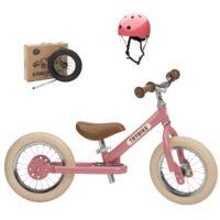 Draisienne rose avec kit tricycle et casque, pour enfants à partir de 15 mois