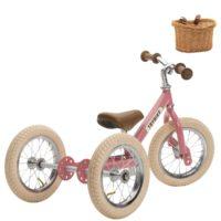 Draisienne rose avec kit tricycle et panier, pour enfants à partir de 15 mois