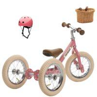 Vélo enfant rose : draisienne + kit tricycle + casque. Pour les enfants à partir de 15 mois