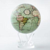 globe terrestre antique vert Mova, frontières 1790