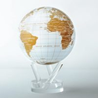 "Globe terrestre 4,5"" Mova, blanc et or"