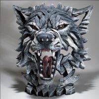 Buste de loup gris, par Edge sculpture